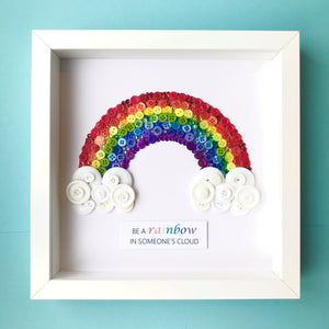 Sparkly Rainbow framed button art nursery decor | Child's bedroom art