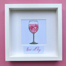 Load image into Gallery viewer, Glass of wine original button art framed picture.