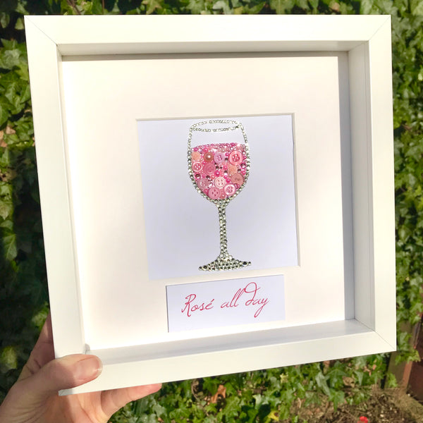 Glass of wine original button art framed picture.