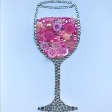 Load image into Gallery viewer, Rosé all day - sparkly pink wine glass artwork