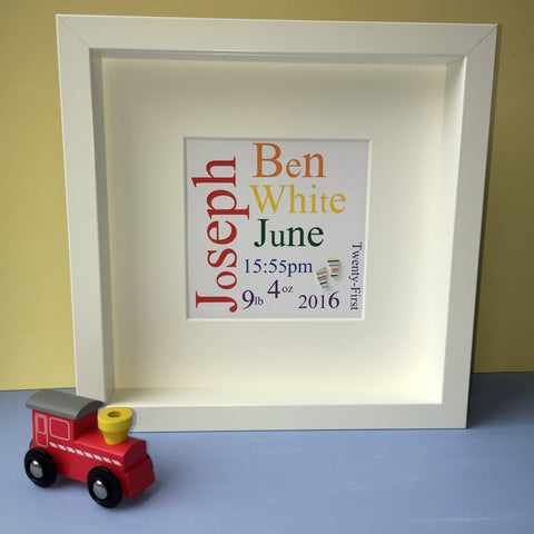 Personalised nursery child's word art. framed picture.