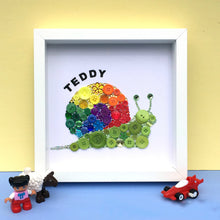 Load image into Gallery viewer, rainbow snail cute button art framed picture