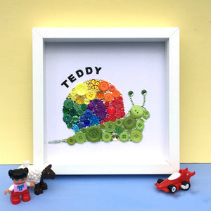 Framed sparkly rainbow snail button art - perfect nursery decor
