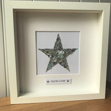 Load image into Gallery viewer, Sparkly star framed button art. Silver.
