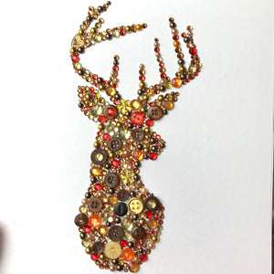 A beautiful contemporary stag made from stunning buttons. Original British art. Perfect for Christmas. Free delivery!