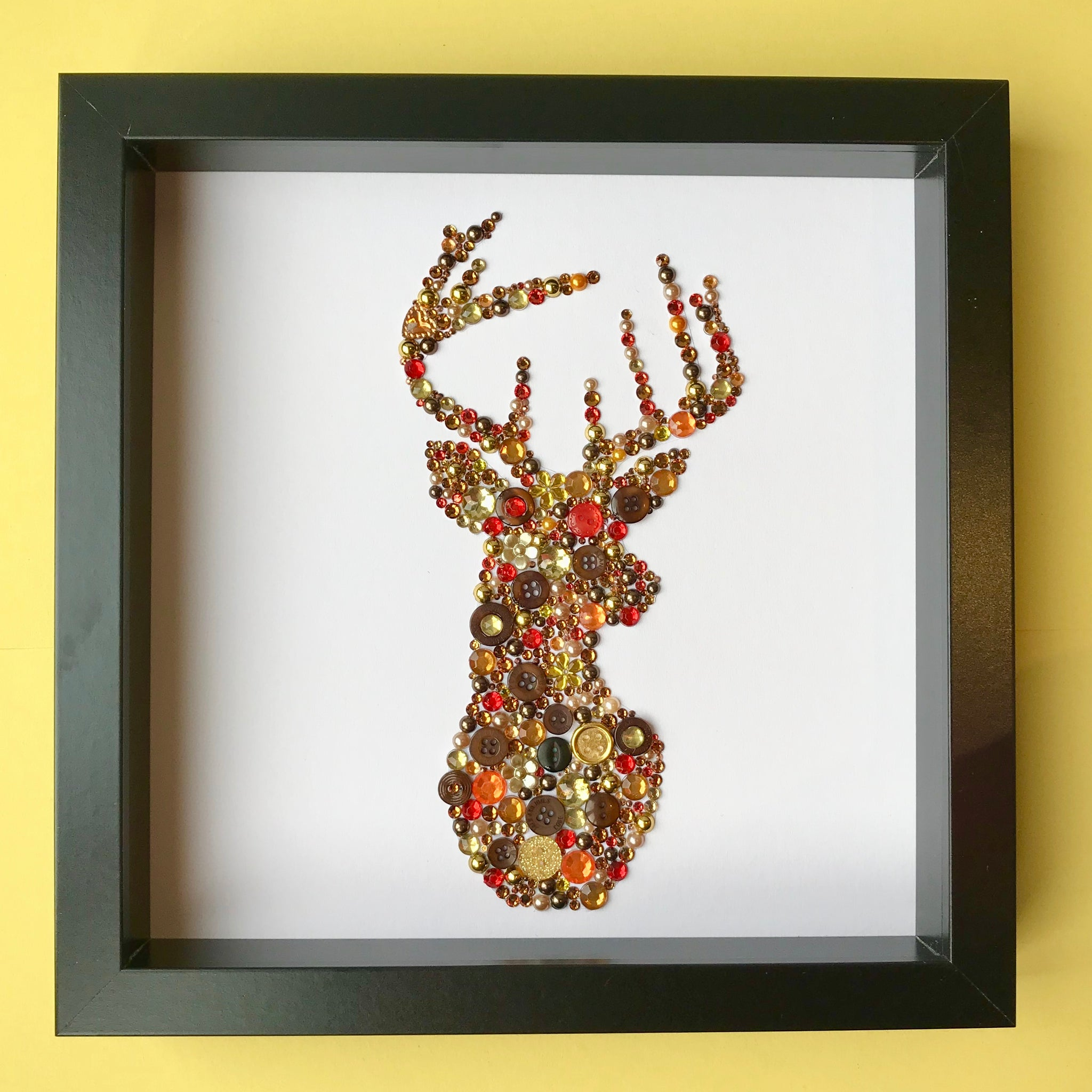 Stags head button art on white - rustic wall art