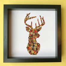 Load image into Gallery viewer, A beautiful contemporary stag made from stunning buttons. Original British art. Perfect for Christmas. Free delivery!