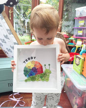 Load image into Gallery viewer, Framed sparkly rainbow snail button art - perfect nursery decor