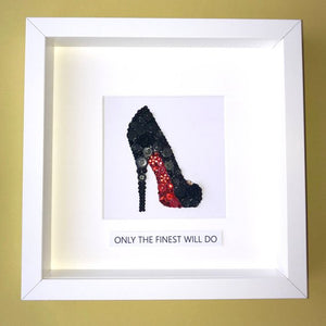 Red Sole Stiletto button art framed picture.