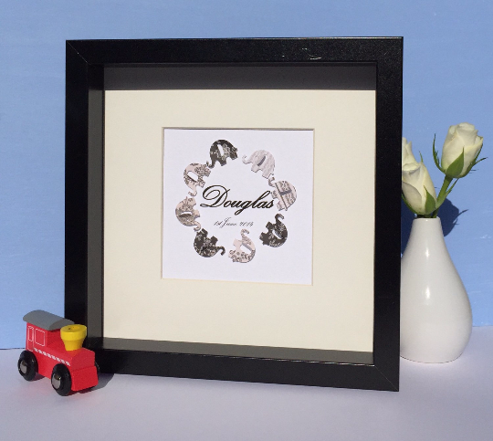 Black and white elephants button art framed picture