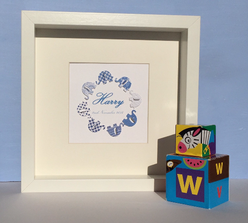 Personalised blue paper elephants picture - new baby boy gift