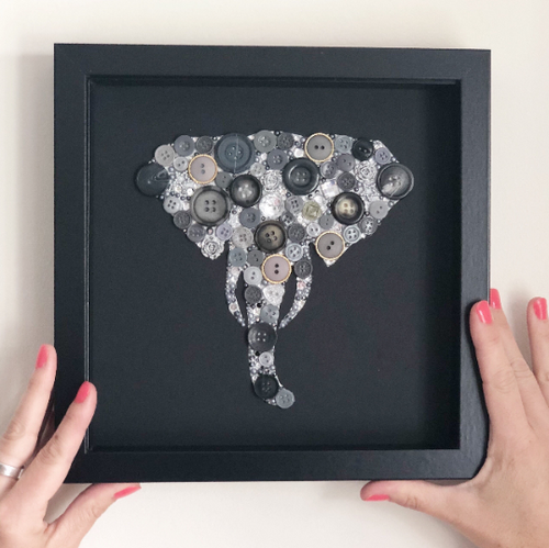 14th Wedding Anniversary Gift - Framed Elephant Head Button Art - Ivory Anniversary