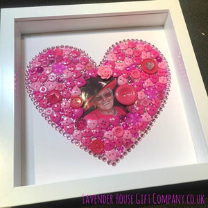 Heart button art with your photo - choose any colour