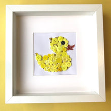 Load image into Gallery viewer, Framed yellow duck button art - perfect nursery decor