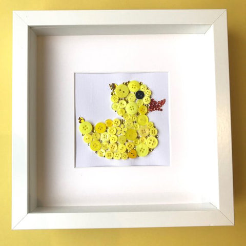 Framed yellow duck button art - perfect nursery decor