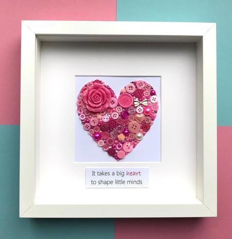 Personalised Button Art Heart - Teacher Thank You Gift