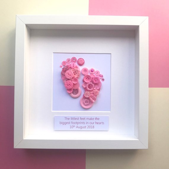 Personalised new baby girl footprints button art in pink