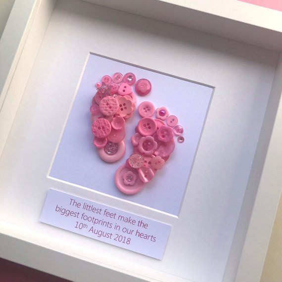 baby button art footprint framed picture