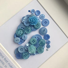 Load image into Gallery viewer, Personalised new baby boy footprints button art in blue
