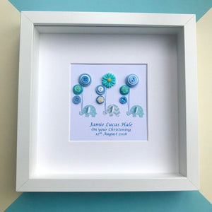 Personalised new baby boy elephants and balloons in blue nursery wall art
