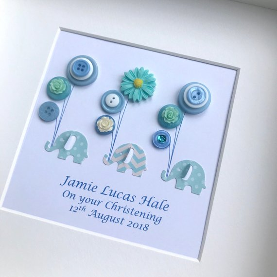 Personalised New Baby Boy Framed Gift - Elephants and Balloons in Blues
