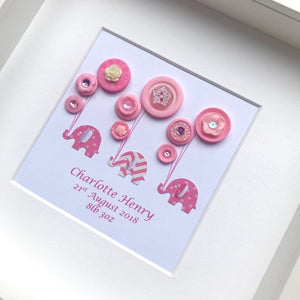 elephants holding balloons pink button art framed picture.
