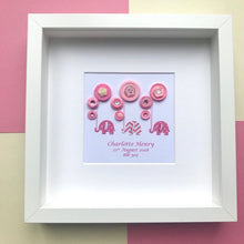 Load image into Gallery viewer, Personalised new baby girl elephants and balloons in pinks