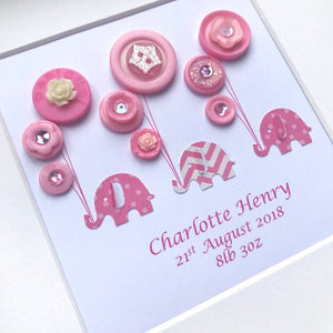 Personalised new baby girl elephants and balloons in pinks