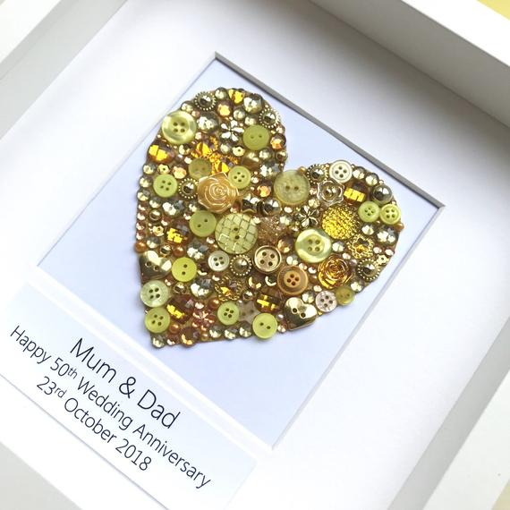 Personalised golden wedding anniversary gift - sparkly gold button art heart
