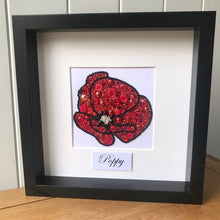Load image into Gallery viewer, Red sparkly poppy button art framed picture.