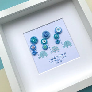 blue elephants holding balloons button art framed picture.