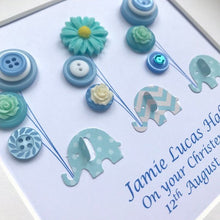 Load image into Gallery viewer, blue elephants holding balloons button art framed picture.