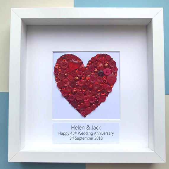 Ruby Wedding handmade button heart art gift.
