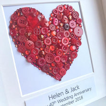 Load image into Gallery viewer, Ruby Wedding handmade button heart art gift.
