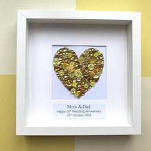 Load image into Gallery viewer, golden wedding anniversary golden button art heart