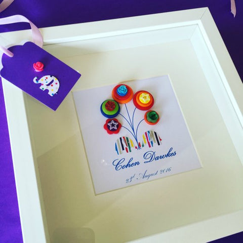 Cute and colourful button art. Elephants holding balloons framed picture.