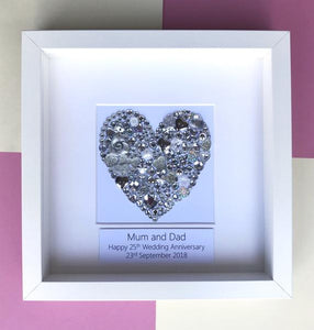 Personalised silver wedding anniversary gift - silver heart button art