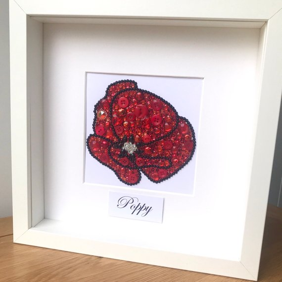 Red sparkly poppy button art framed picture.