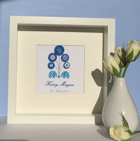 Personalised New Baby Boy Framed Nursery Art, Blue Elephants and Balloons Birth Details Gift