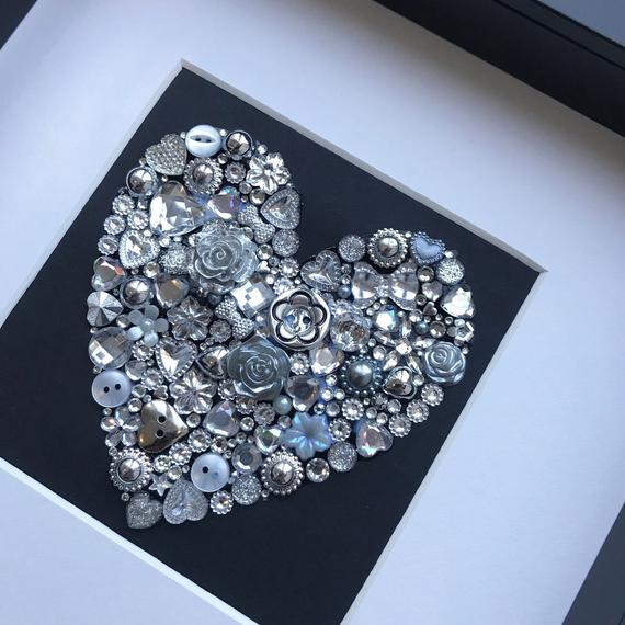 Silver Wedding 25th Anniversary Personalised Gift - silver heart button artwork.