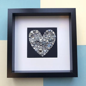 Personalised silver heart on black button art
