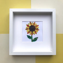 Load image into Gallery viewer, Sparkly yellow sunflower. Framed button art.