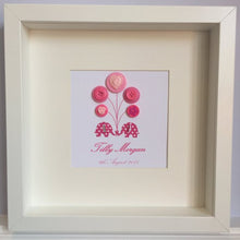 Load image into Gallery viewer, Personalised new baby girl nursery decor - elephants and balloons trunk to trunk in pink