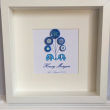 Load image into Gallery viewer, Personalised new baby boy nursery decor - elephants and balloons trunk to trunk in blue