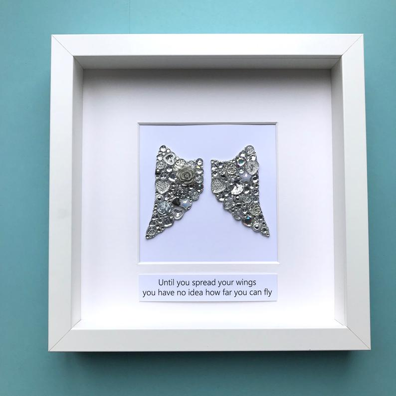 silver sparkly angel wings button art framed picture.