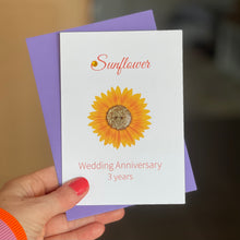 Load image into Gallery viewer, Sunflower Wedding Anniversary Card | 3rd Anniversary Flower