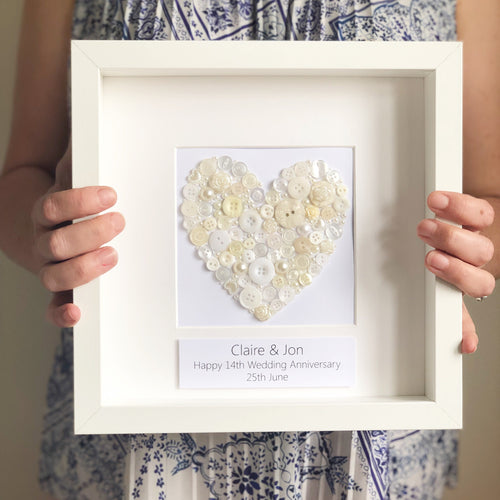 Ivory Anniversary button ivory heart, framed picture