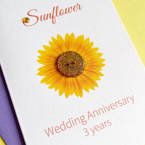 Sunflower Wedding Anniversary Card | 3rd Anniversary Flower