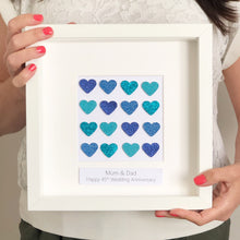 Load image into Gallery viewer, Sapphire 45th anniversary blue button art heart framed picture