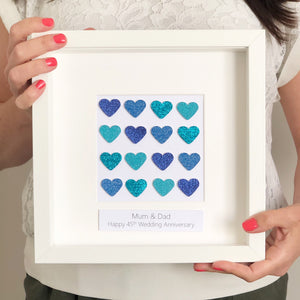 Sapphire 45th anniversary blue button art heart framed picture